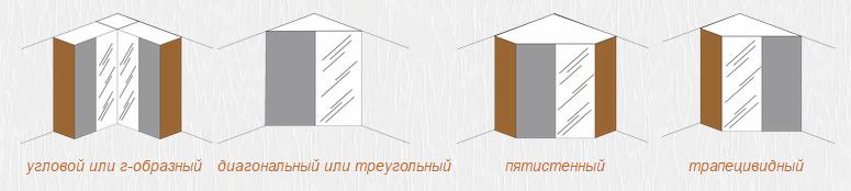 Примеры исполнения угловых шкафов-купе